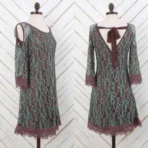 Altar'd State Mint Brown Cold Shoulder Dress